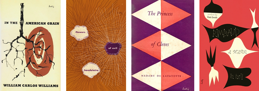 New Directions reissues of bookjackets designed by Alvin Lustig.
